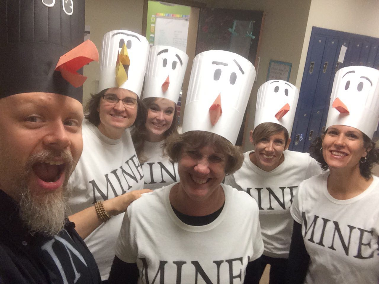 Middle school teachers dressed up for halloween as seagulls.