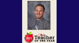 Anthony Coy-Gonzalez framed with cream background and 2021 Ohio Teacher of the Year title at the bottom.